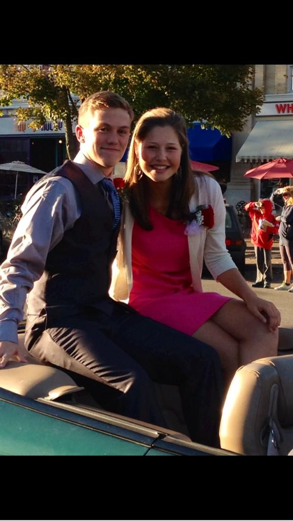 Homecoming King Trevor King poses with Queen Charlotte Prudhomme during the parade. PHOTO COURTESY OF TREVOR STEYN